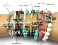 Shamballa Bracelet 8mm Glass/Tiger-eye/Turquoise/Amethyst Beads Rhinestone Sideways Cross Bracelet(5pcs/lot)