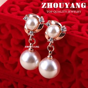 ZYE081 Two Imitation Pearl 18K Rose Gold Plated Stud Earrings Genuine  Austrian Crystal Wholesale