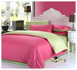 FreeShipping 4pcs Cotton Contrast Color Bedding Set/Duvet Cover/Comforter Set/ Bed Sheet Watermelon Red And Apple Green Modern(China (Mainland))