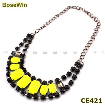 Hot Fashion Gun Black Chain Neon Yellow Acrylics Beads Pendants Choker Necklaces For Women Dress CE421