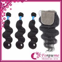 Forawme hair 1b black peruvian virgin hair body wave 3bundle with closure silk base closures 4*4 inch human virgin hair