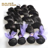 "6A Natural virgin hair 3pcs/lot 12""-30"" Loose wave Brazilian Virgin Hair Extensions,Rosa human hair weft, DHL Fast shipping"