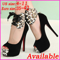 US Size 4~11 2013 New Fashion Sexy Women Pumps Red Bottoms Peep Toe Platform 14cm Stiletto High Heels Wedding Party Shoes