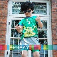 Free Shipping Hot Selling Boys Clothing Summer T-Shirt Cotton T-shirt Fake Glasses & Chopper Design K0125