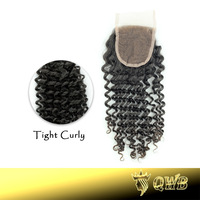 Free shipping Top Closure 4''x3.5'' (H/L) Bleached Knots Malaysian Curly Hand Tied Free Parted Lace Closure