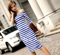Summer New Fashion Sexy Off The Shoulder Knee Length Strapless Stripe women's dresses 2014 Free Shipping