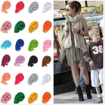 Lady Women Fashion Stylish Soft Silk Chiffon Scarf Candy Color Warm Scarf Shawl