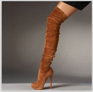 FREE SHIPPING ladies fashion shoes 2013 suede genuine leather Knee-High boots,heel 14&16,waterproof 3.5,size 35-43,hot(China (Mainland))