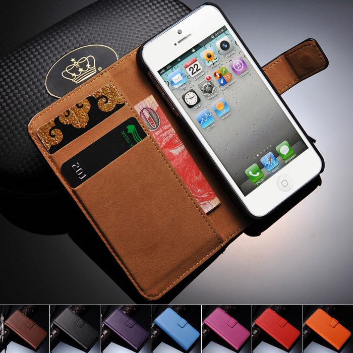 Genuine Leather Wallet Stand Design Case for iPhone 5 5S 5G Mobile Phone Bag Cover Luxury with Card Holder, Free Screen Film OYO(China (Mainland))