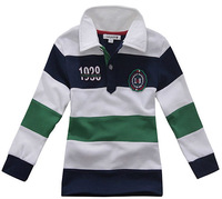 O Freeshipping 2013 Autumn Children Boy Kids Baby long sleeve color striped POLO Tshirt cotton shirt TOP clotheing  LCQZ0203
