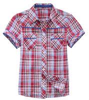 Freeshipping summer blue red plaid Children Child boy Kids baby short sleeve cotton shirt/ T-shirt children clothing PEXS03P29