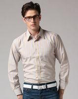 Freeshipping Autumn winter striped coffee blue gentleman man men's casual Business slim fit fashion cotton shirt  FZ-M002-60ST5
