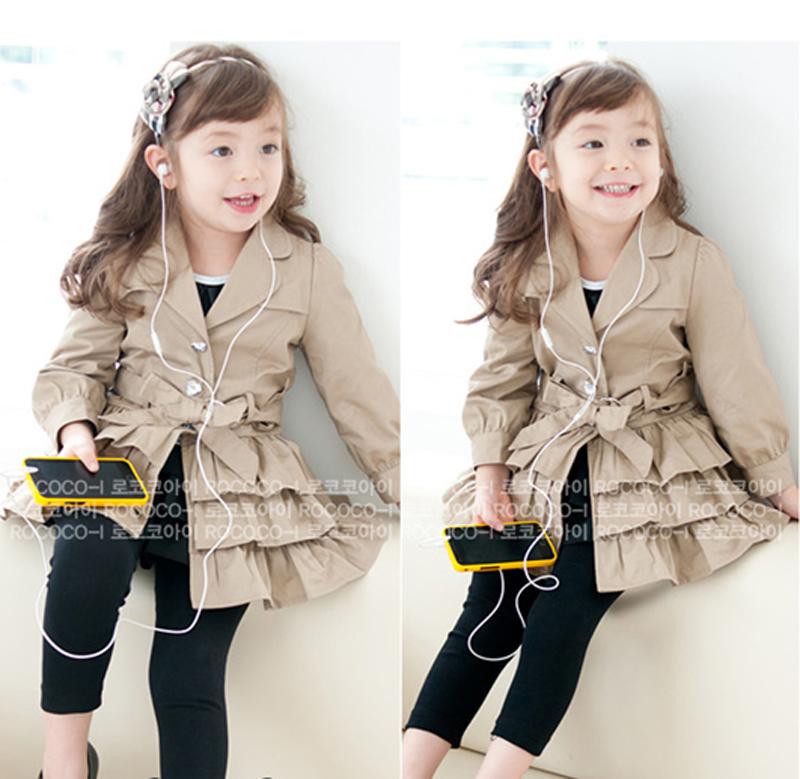 Free Shipping New 2014 Korean style girl children's falbala Outer Wear coat / girl's coat baby jacket(China (Mainland))