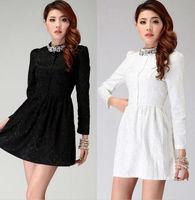 XXL XXXL Plus size women winter dress elegant mini beading work dresses new spring 2014 casual dress black white belt