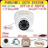 "Special offer 1/3""Sony Effio-e 700tvl 960H 24leds with OSD menu indoor dome cctv camera free shipping !!!"