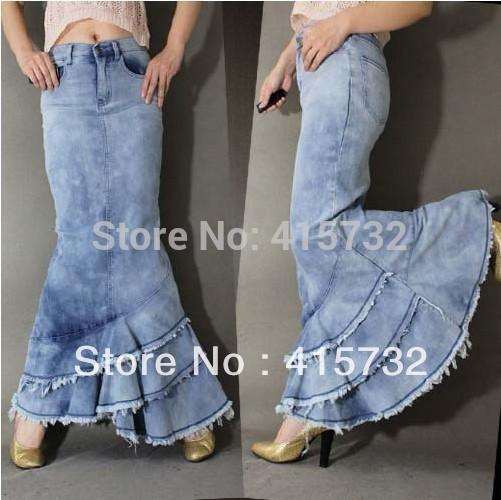 Free Shipping New High Quality 2014 Jeans Fashion Long Denim Skirt For Women Slim Mermaid Style High Waist Skirt With Tassels XL
