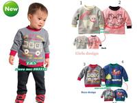 Whole sale Hot baby girl boys spring long sleeve t shirt Infant autumn terry sweatshirt toddler  cartoon boys tops free shipping