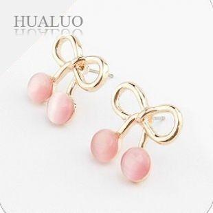 The Japan And South Korea Jewelry Cute Bow Cherry Opal Earrings E438(China (Mainland))