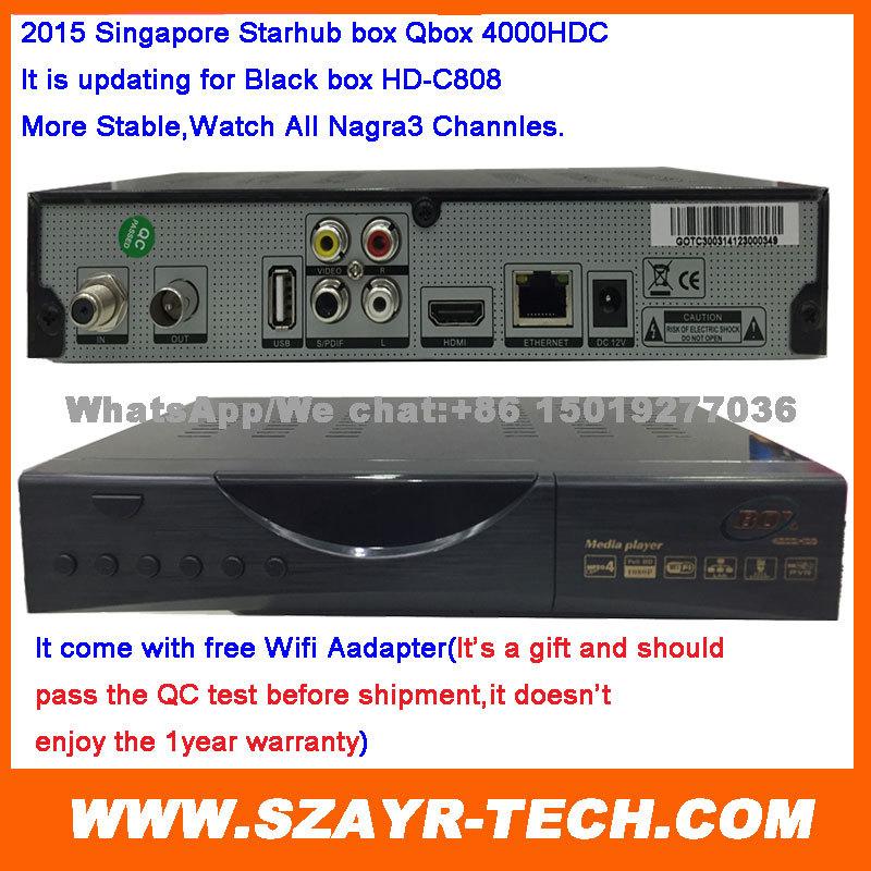 No Monthly Fee Singapore Starhub Cable TV HD Set Top Box Black Box HD-C808 Plus watch nagra3 BPL free wifi adapter(China (Mainland))