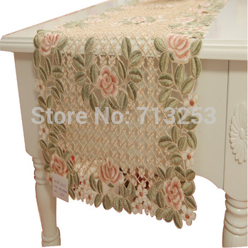 No.135-4B  Embroidery table linen country living rose table runner 100% by  handmade for hotel home dining room(40*180cm)