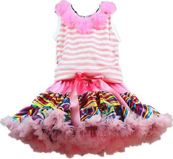 Free Shipping Hot Sale Fashion Baby Girls Skirts Rainbow Satin Pettiskirt Tutu Skirt Flower Vest Sets Children's Clothing Set