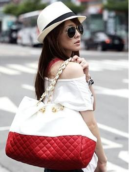 2013 promotion women's designer PU leather handbags chains shoulder bag diamond lattice shopping totes