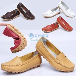 Promotions!! Women's Mother's Leather Shoes Slip-on Ballet Flats Comfort Anti-skid Shoes 5 Colors Free Shipping 8015(China (Mainland))
