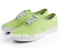 Free Shipping 2013 New Fashion Women's Lace Up Medium Size Solid Rubber Canvas Breathable for Summer Blue Green Red Sneakers