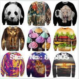 New 2014 Spring Women/Men Dog/tiger Pharaoh 3D Cartoon T Shirt Animal Sportswear Sweatshirts Space Galaxy Sexy Sweaters Hoodies(China (Mainland))