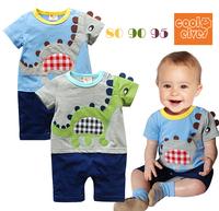 2014 new Baby rompers girl boy's short sleepsuit cartoon broidery dinosaur summer jumpsuits NewBorn bebe romper Top-Cotton