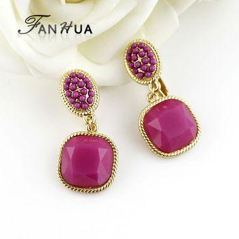 Ear Cuff  Clip Earrings Without Piercing Brincos Pequenos Purple Imitation Gemstone Jewelry 2014 Fashion Deisgner Brincos Women