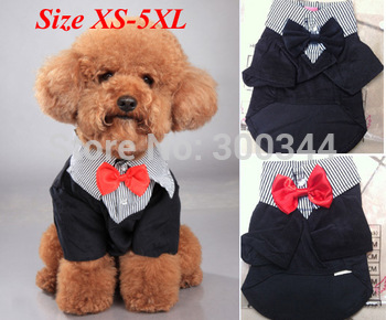 2014 HOT XMAS GIFT Pet Dog Clothes Western Style Men's Suit & Bow Tie Puppy Costume Apparel BIG SIZES XS-4XL