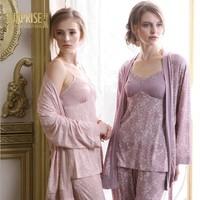 New 2015 Spring And Autumn 100% Cotton Pajamas for Women Pijama Brand Nightgown Three-Piece Sleepwear Home Clothes Noble Pyjamas