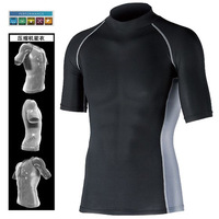 Mens Compression Shirt Performance Underwear Cool Feeling Quick Dry UV Cut High Necked Sportswear Camping Hiking T-shirts E0025
