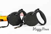 Fashion black and white polka dot retractable pet dog automatic lead leash 20kg 3m flexi belt Dog collar lead Free Shipping