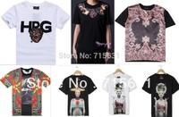 2014 Summer New Dsign Men's T-Shirt Short Sleeve Fashion Shirt Neckline Printed Pattern Cotton Casual Tee Plus S/M/L/XL M-9020