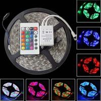 5M RGB LED Strip Light 3528 Waterproof 220V To 12V 300led 60leds/m + 24keys Remote + Receiver For Home Garden Indoor Lighting