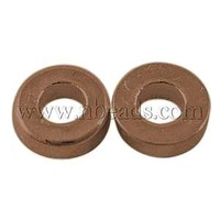 Tibetan Style Bead Spacers,  Lead Free & Cadmium Free,  Donut,  Red Copper Color,  Size: about 6mm in diameter,  2mm thick