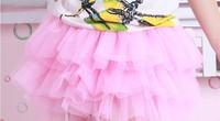 Retail 2014 Baby girls chiffon fluffy pettiskirts Princess skirts Baby tutu Pink+Red+Yellow+White multicolour skirt ((GQ-098-2))