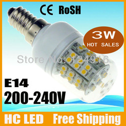 Free Shipping High Power 3W 3528 SMD E14 E27 G9 GU10 48 LED light Bulb Lamp Corn lamp Cool/Warm White 200V-240V led spotlight(China (Mainland))