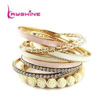 Bracelets Bangles Sets for Women (11pcs /set ) Top Selling Multilayer Rhinestone and Enamel Resin Flower Bracelets