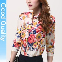 2013 new autumn spring Blouse block gold buckle small stand collar shirt women chiffon shirt female long-sleeve shirt plus size