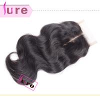 Brazilian/Peruvian virgin Human hair body wave weave top lace closure ,cheap swiss middle part  lace closures bleached knots
