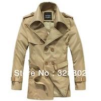 High quality 2013 Men's Dust Coat XXXXL mens overcoat winter men's trench coat long trench coats for men XXXL  4XL   5XL Khaki