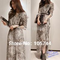 Free Shipping 2014 New Hot-Selling Lady Snake Skin Printing Chiffon Dress High Quality Bohemia Two-Piece Dress Long Design S M L