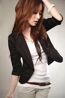 2015 Summer Cute Plus Size S-XXXL Slim Black Blazers Women's Three Quarter Sleeve Jacket Coats Small Fashion Suit Blazer