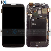 Free Shipping For Samsung Galaxy Note 2 N7100 LCD Display Touch Screen Digitizer Assembly With Frame Replacement, Black Color