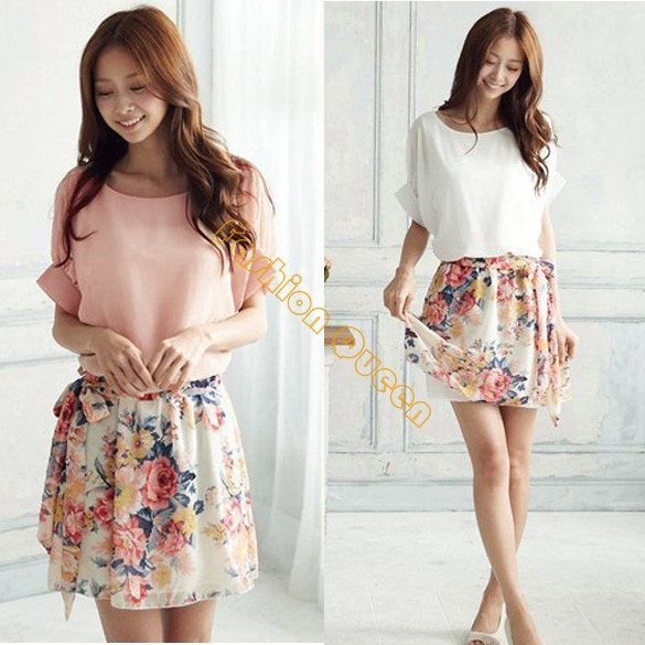 New 2014 dress summer casual Women's Charming Crewneck Chiffon Short Sleeve Floral mini Dress Plus Size 2 colors 14510(China (Mainland))