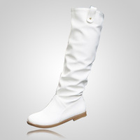 Autumn-Summer FashionTall Europe Imitation leather Artificial Leather PU Winter Women shoes Boots For Women Isabel Marant White