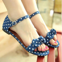 Plus Size Summer Women Sandals Ankle Strap Casual Polka Dot Flip Flops For Women melissa sapatilhas femininos 2014 Women Shoes